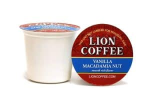Lion Coffee Vanilla Macadamia Nut Light Medium Roast 12ct Single Serve Coffee