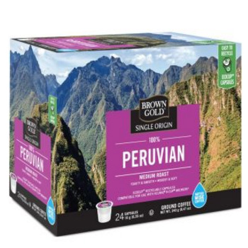 Brown Gold Peruvian Coffee Medium Roast RealCups 24ct