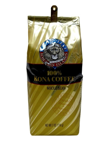 Lion Coffee 24K Kona Whole Bean Light Medium Coffee Roast 7oz