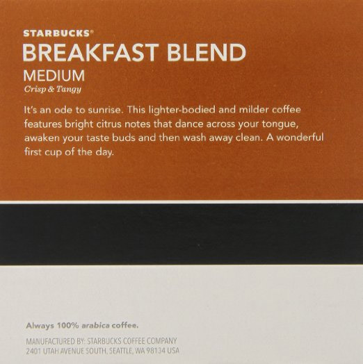 Starbucks Coffee Breakfast Blend 60 Count K cups®
