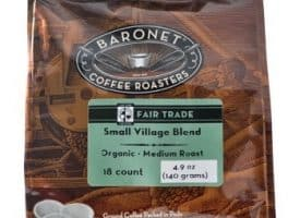 Baronet Coffee Organic Fair Trade Certified Small Village Blend Medium Roast Coffee Pods 18ct