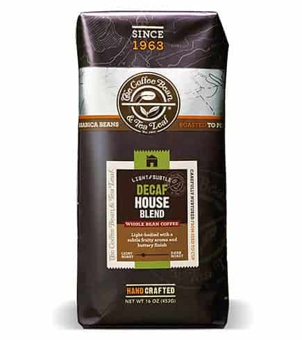 Coffee Bean and Tea Leaf Decaf House Blend Whole Bean Light Roast 16oz