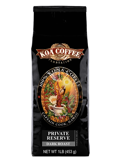 Koa Coffee Private Reserve Kona Whole Bean Coffee Dark Roast 16oz