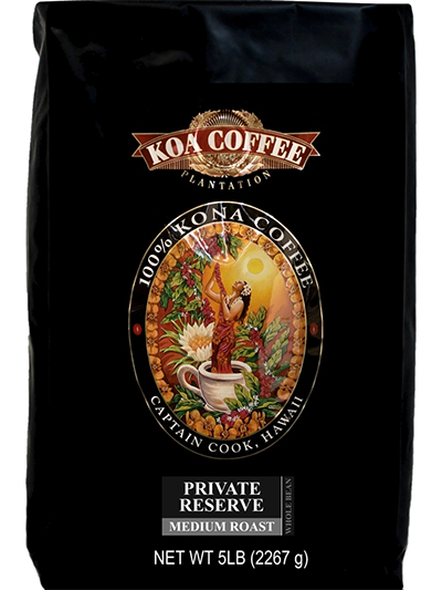Koa Coffee Private Reserve Kona Whole Bean Coffee Medium Roast 80oz