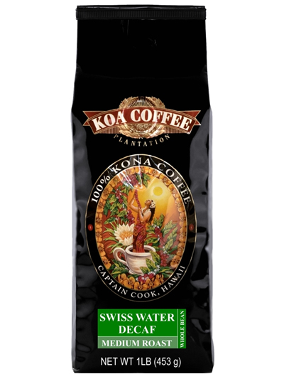 Koa Coffee Swiss Decaf Kona Blend Whole Bean Coffee Medium Blend 16oz