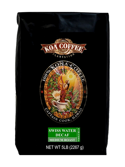 Koa Coffee Swiss Decaf Kona Blend Whole Bean Coffee Medium Blend 80oz