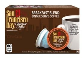 San Francisco Bay Breakfast Blend Medium Roast Single Serve K-Cups One Cup 80ct