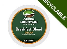 Green Mountain Coffee Decaf Breakfast Blend Recyclable Light Roast K cups®  24ct