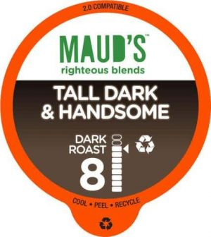Maud's Righteous Blends Tall Dark & Handsome Dark Roast Recyclable Coffee Pods 100ct