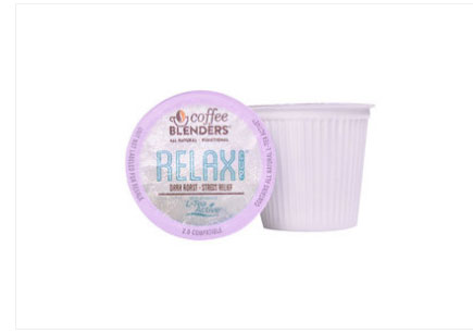 Coffee Blenders Relax Cup 2.0 Reduce Stress & Anxiety Dark Roast Coffee Pods 10ct