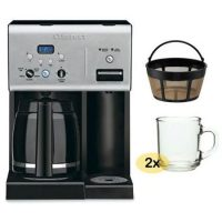 Cuisinart 12-cup Programmable Coffee Maker w/ Gold Tone Basket Coffee Filter and 2 Coffee Mugs
