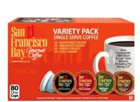 San Francisco Bay Variety Pack Single Serve K-Cups One Cup 80ct