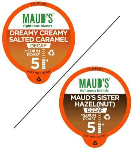Maud's Righteous Blends Decaf Hazelnut & Caramel Variety Recyclable Coffee Pods 48ct