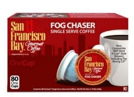 San Francisco Bay Fog Chaser Medium Roast Single Serve K-Cups One Cup 80ct