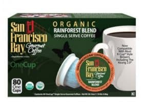 San Francisco Bay Rainforest Blend Medium Dark Roast Single Serve K-Cups One Cup 80ct