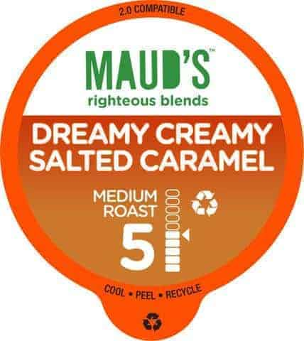 Maud's Righteous Blends Salted Caramel Medium Roast Recyclable Coffee Pods 100ct