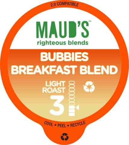 Maud's Righteous Blends Bubbies Breakfast Blend Light Roast Recyclable Coffee Pods 100ct