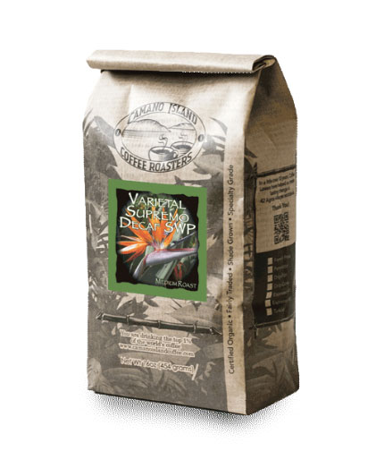 Camano Island Coffee Roasters Decaf Espresso SWP Whole Bean Medium Roast Coffee 16oz