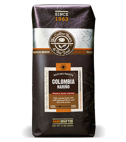 Coffee Bean and Tea Leaf Colombia Narino Blend Whole Bean Light Roast 16oz