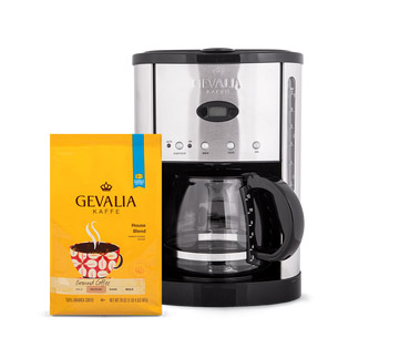 Gevalia Programmable Stainless Steel 12-Cup Coffeemaker + 20oz Medium Roast