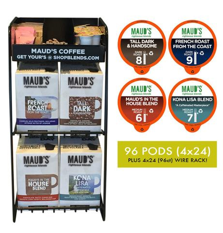 Maud's Righteous Blends Gourmet Variety Recyclable Coffee Pods 96ct and Rack