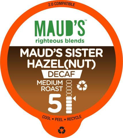 Maud's Righteous Blends Decaf Hazelnut Medium Roast Recyclable Coffee Pods 100ct