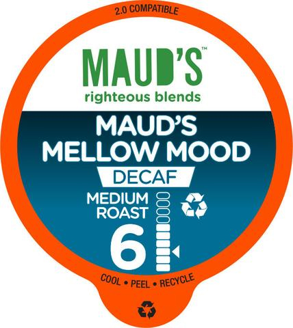 Maud's Righteous Blends Decaf Mellow Mood Medium Roast Recyclable Coffee Pods 100ct