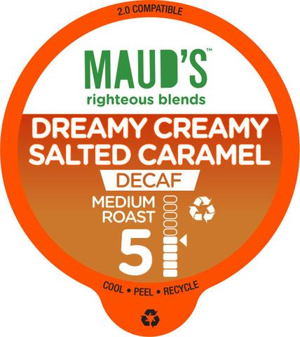 Maud's Righteous Blends Decaf Salted Caramel Medium Roast Recyclable Coffee Pods 100ct