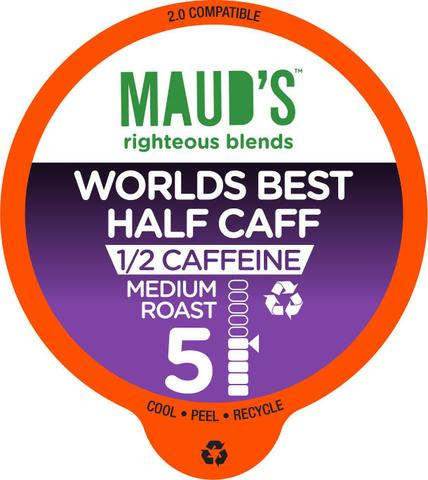 Maud's Righteous Blends Half-Caff Medium Roast Recyclable Coffee Pods 100ct