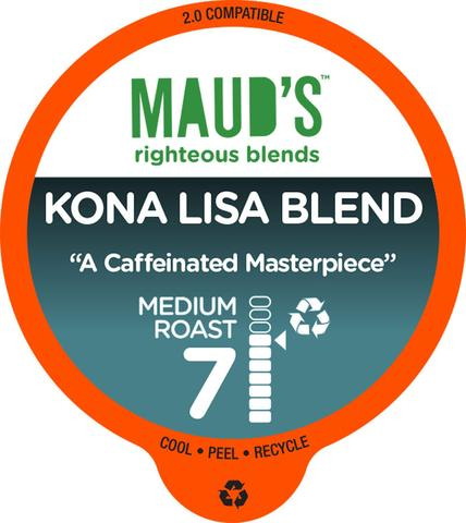 Maud's Righteous Blends Kona Medium Roast Recyclable Coffee Pods 100ct