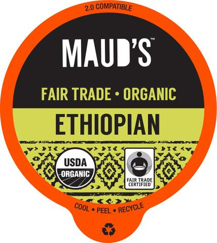Maud's Righteous Blends Organic Ethiopian Dark Roast Recyclable Coffee Pods 96ct