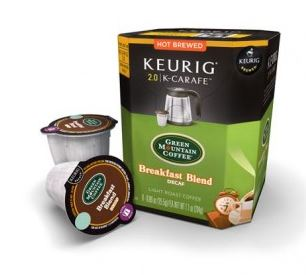 Green Mountain Coffee Decaf Breakfast Blend Light Roast K-Carafe Pods 8ct