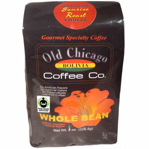 Old Chicago Coffee Fair Trade Bolivia Whole Bean Light Roast Coffee 8oz