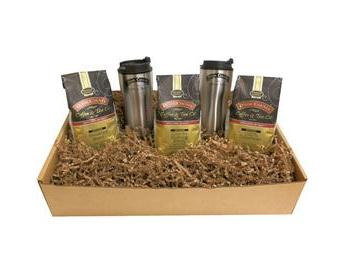 Door County Coffee Trio Travel Gift Set Ground Coffee 30oz with 2 Travel Mugs