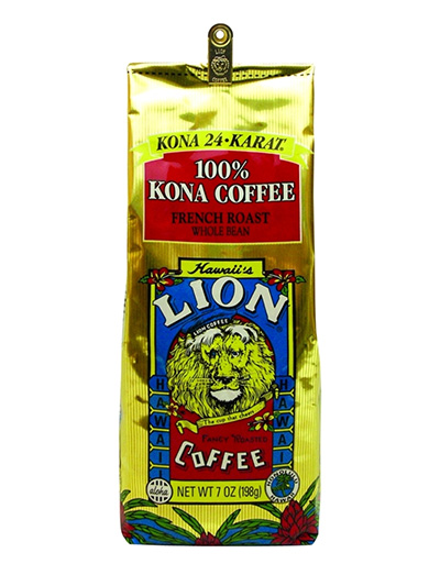 Lion Coffee Kona French Roast Whole Bean Dark Roast Coffee 7oz