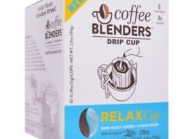Coffee Blenders Relax Drip Cup Pour Over Dark Roast Coffee with L-Theanine 10ct