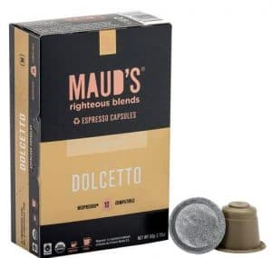 Maud's Righteous Blends Organic Dolcetto Espresso Medium Roast Capsules 20ct
