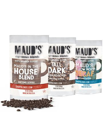 Maud's Righteous Blends Variety Ground Medium, Dark, Decaf Roast Coffee 72oz