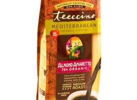 Teeccino Herbal Coffee Almond Amaretto Ground Medium Roast Coffee 11oz