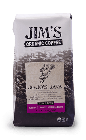 Jim's Organic Coffee Jo Jo's Java Whole Bean Light Medium Roast 72oz