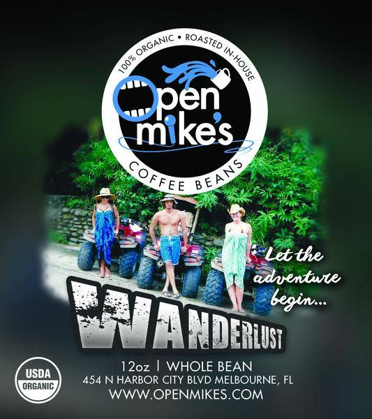 Open Mike's Coffee Wanderlust Whole Bean Medium Roast Coffee 12oz