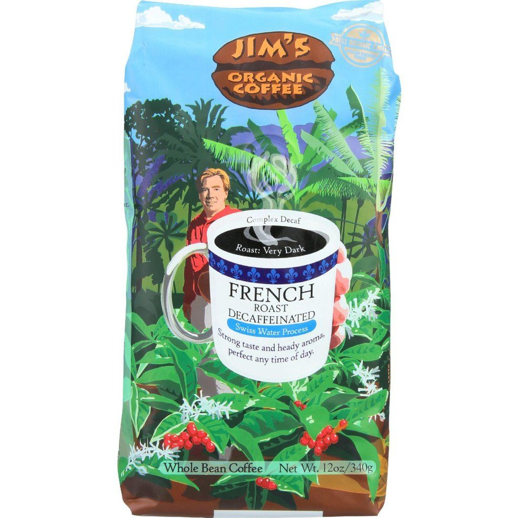 Jim's Organic Coffee Decaf French Roast Whole Bean Dark Roast 66oz