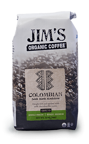 Jim's Organic Coffee Santa Marta Montesierra Whole Bean Medium Roast 80oz