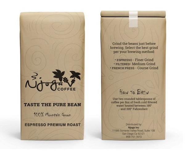 Njoga Coffee Espresso Premium Whole Bean Dark Roast Coffee 16oz
