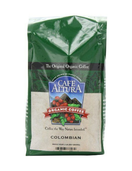 Cafe Altura Organic Colombian Whole Bean Dark Roast Coffee 80oz