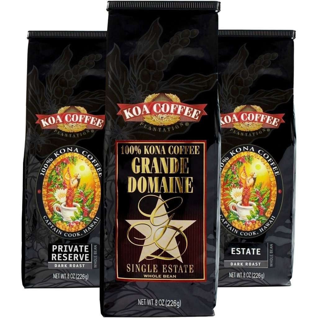 Koa Coffee Dark Roast Whole Bean Kona Coffee Tri-Pack