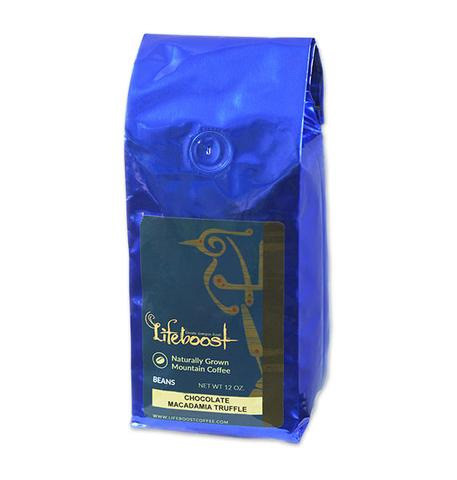 Lifeboost Coffee Fair Trade Organic Chocolate Macadamia Whole Bean Medium Roast Coffee 12oz