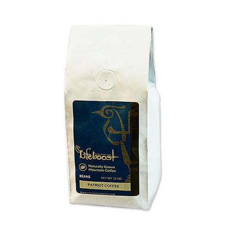 Lifeboost Coffee Fair Trade Organic Patriot Whole Bean Medium Roast Coffee 12oz