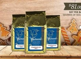 Lifeboost Coffee Organic Whole Bean Gingerbread Latte Medium Roast Coffee 36oz Bulk Coffee