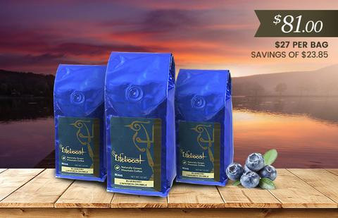 Lifeboost Coffee Organic Blueberry Cinnamon Crumble Whole Bean Medium Roast Coffee Bundle 36oz